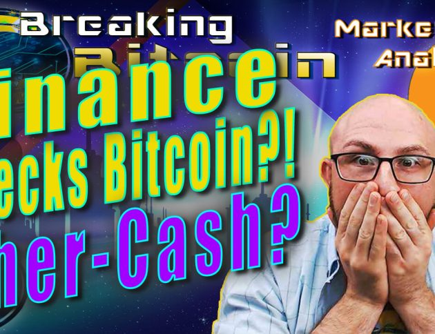 text binance wrecks bitcoin?! Ether-cash? next to justins face with both hand son mouth shocked and graphic background with bitcoin logo