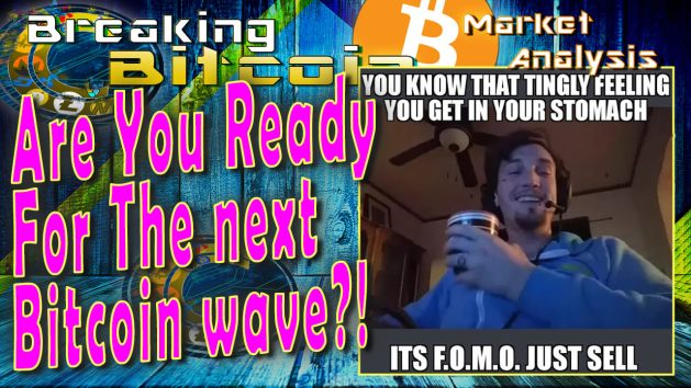 text are you ready for the next bitcoin wave next to meme of aaron lynde trading crypto with words you know that tingly feeling you get in your stomach, it's fomo just sell with wood panel graphic background and bitcoin logo