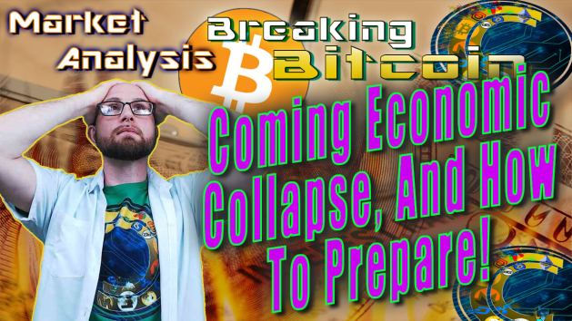 text coming economic collapse and how to prepare! next to justin with both hands on head in exhausted 'oh boy here we go' face with graphic background of dollar on fire and bitcoin logo