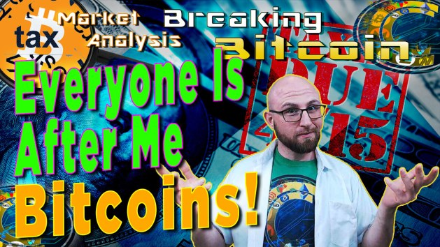 text everyone is after me bitcoins! next to justin with cracking crypto logo shirt on with hands out like check this out with background graphic and bitcoin logo