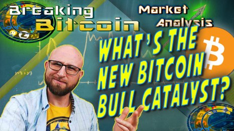 """text what's the new bitcoin bull catalyst next to justin's """"did you see this"""" face with hand up like here it is with graphic background of school chalk board with chart drawn and arrow at right end going up to moon and bitcoin logo"""