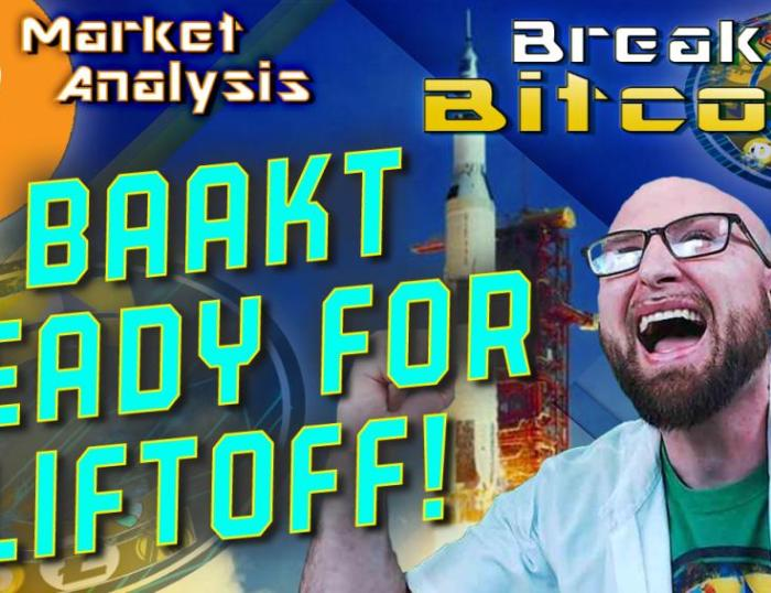 text bakkt ready for liftoff! next to Justin screaming in excitment with both fists raised and background graphic with bitcoin logo