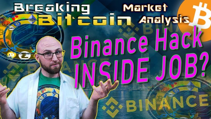 text binance hack inside job? next to questioning justin with hands up shrugging with graphic background and bitcoin binance logos