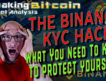 text the binance kyc hack; what you need to know to protect yourself next to just double hand son face mouth wide open shocked face with graphic background nad bitcoin logo and binance logos