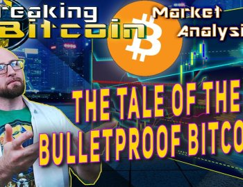 text the tale of the bulletproof bitcoin next to justin look up at words with hands out offering style with distant cityscape background graphic and chart of bitcoin pump behind words and bitcoin logo