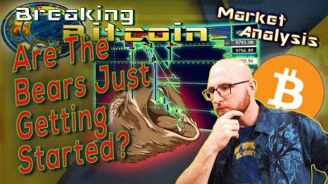 text are the bears just getting started next to justin thinking hand on chin thinker stance with yellow graphic background and graphic of a bears head catching eating bearish falling chart candles into it's mouth and bitcoin logo