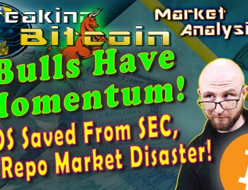 text bulls have momentum! EOS saved from SEC, & repo market disaster! Next to justin looking over his glasses like ooo ok with graphic money background and bitcoin logo