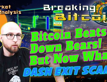 text bitcoin beats down the bears! But now what... Dash Exit scam? Next to justin exhausted from thinking what is next face with chart of bart simpson pump and and dump bitcoin chart and graphic background and bitcoin logo