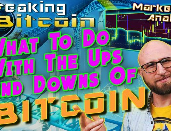 text what to do with the ups and downs of bitcoin! next to Justin shrugging with hand up like what are you going to do with bitcoin chart showing pump and dump and graphic background and bitcoin logo