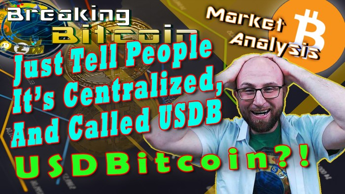 text just tell people it's centralized, and called USDB. USDBitcoin?! next to justin with hands on head like what the what but smiling happily with grraphic backround and bitcoin coin and bitcoin logo
