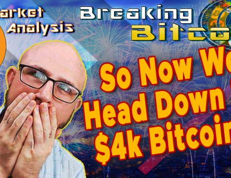 text so now we head down to $4k bitcoin?! next to justin shocked hands on face real big and close up with graphic background bearish red overlay and bitcoin logo