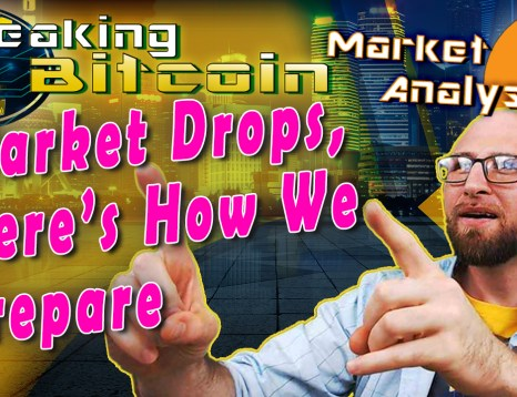 text market drops, here's how we prepared next to justin looking up at words and pointing like 'ah yes, we were prepared' with yellow graphic background and bitcoin logo