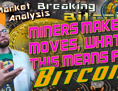 text miners make moves, what this means for BITCOIN! next to justin with hand sup offering up the title and graphic background and bitcoin logo