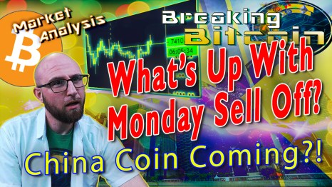 text what's up with monday sell off? next to justin super confused 'what the what' face thinking at words with glowing chart of bitcoin chart showing bearish sell off and graphic background and bitcoin logo