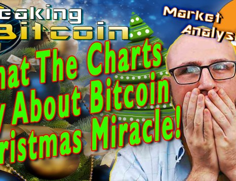 text what the charts say about bitcoin christmas miracle! next to justin shocked hands on face covering mouth with graphic background design and christmas trees and bitcoin logo