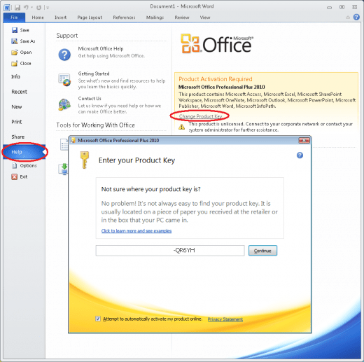 re  microsoft office 2010 with product key