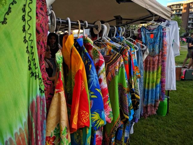 Calgary Night Market colourful clothing