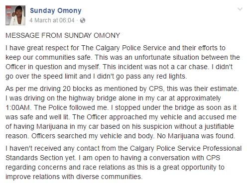Sunday Omony Facebook Post