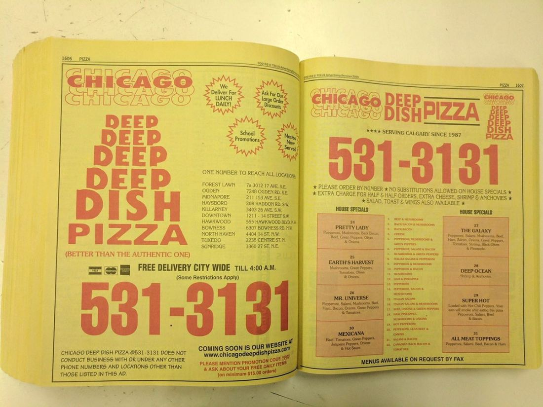 Chicago Deep Dish Pizza Phonebook