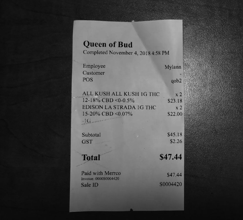 Retail cannabis in Calgary Queen of bud Receipt