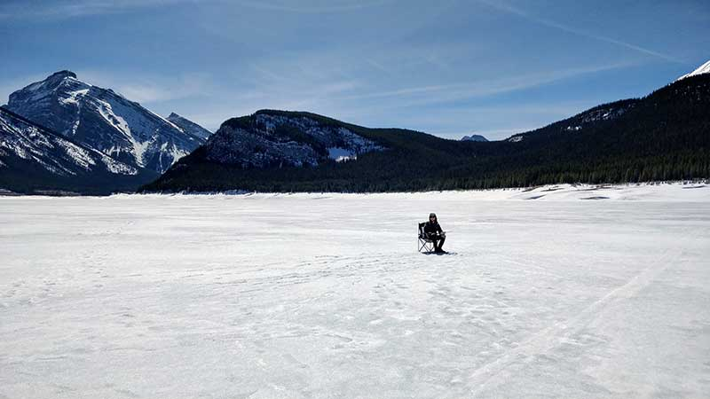 Ice Fishing at Spray Lakes, April 2018
