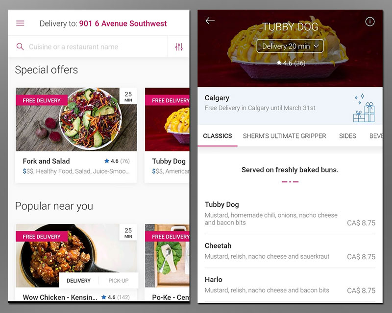Food delivery services Calgary Foodora