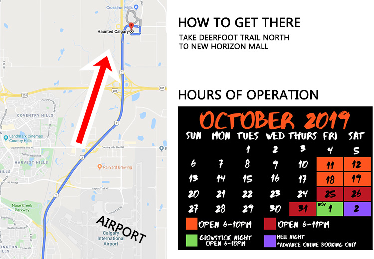how to get to haunted Calgary in New Horizons Mall