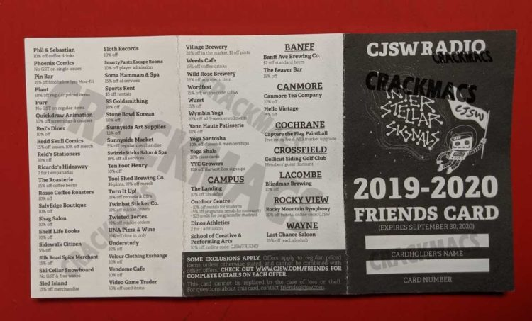 CJSW Friends Card front