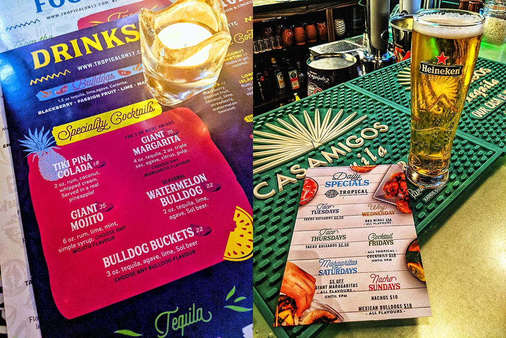 Tropical on 17th Calgary Specials cocktails menus
