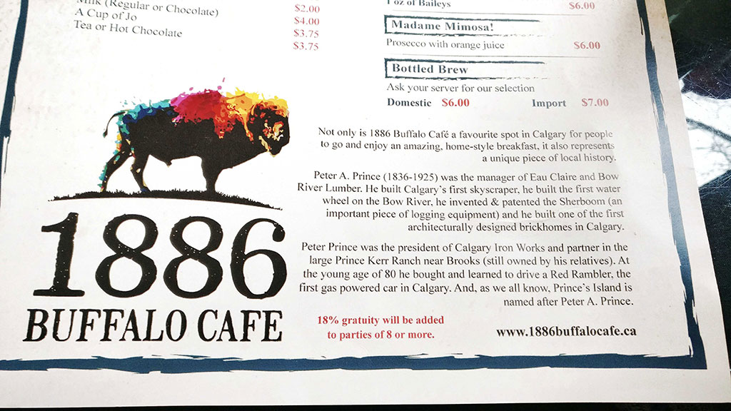 1886 Buffalo Cafe Menu
