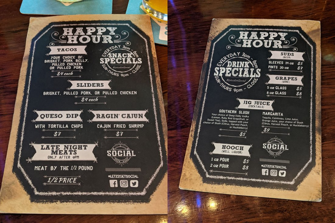 Social Beer Haus Happy Hour Specials