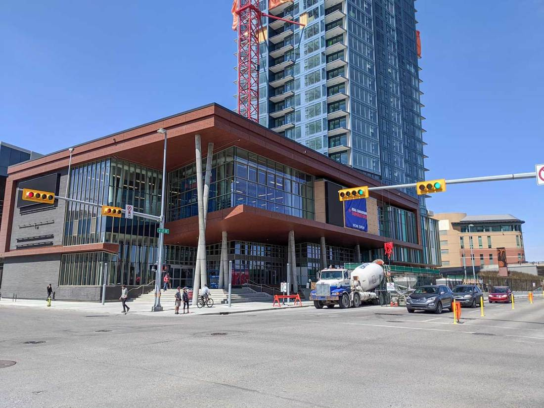 Real Canadian Superstore East Village in Calgary - A view from outside, the south corner, where the elevators are