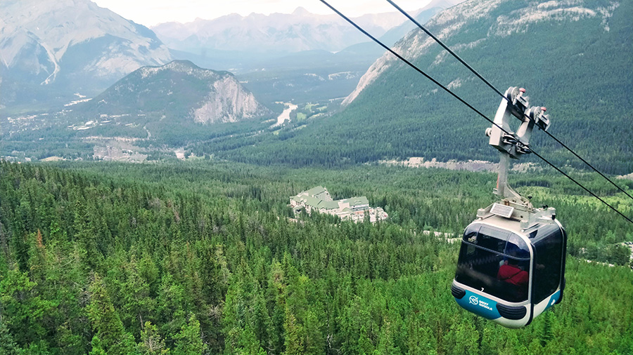 A Banff Gondola Cable Car Overlooking The Town Of Banff