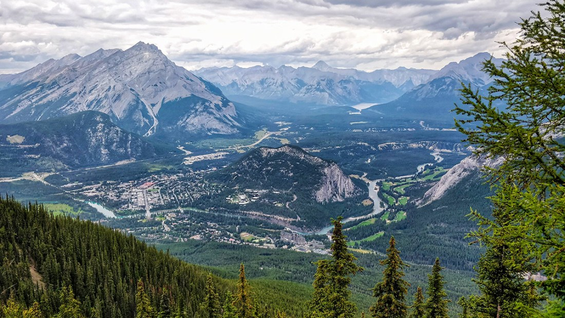 View Of Town Of Banff Valley from The Banff Gondola Observation Deck