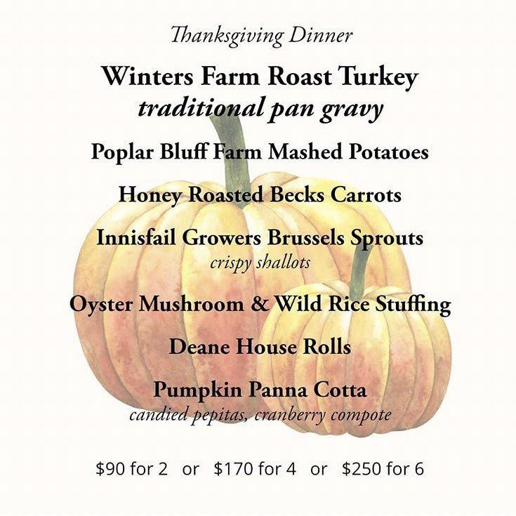 Dean House Winters Farm Roast Turkey Thanksgiving Dinner