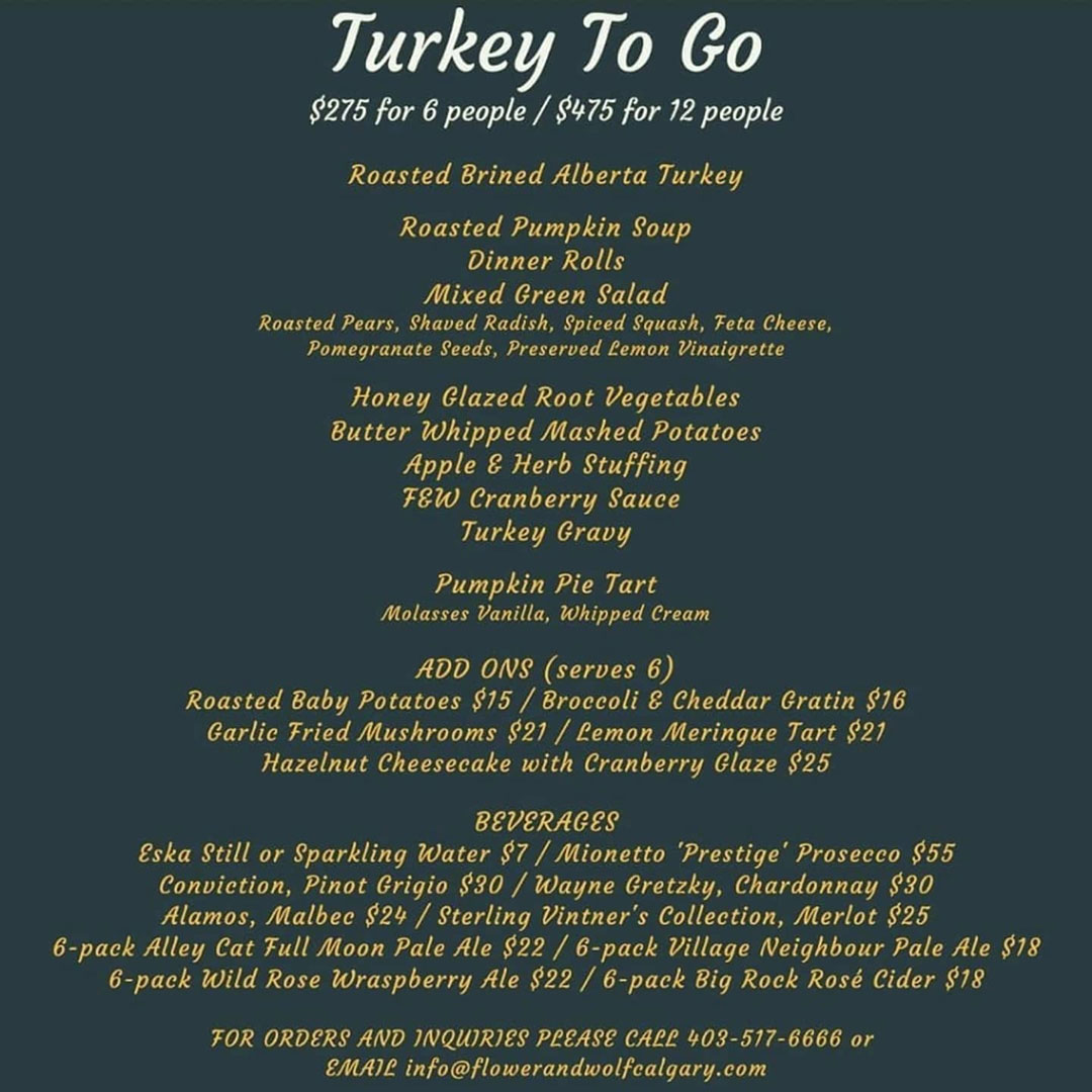 Flower and Wolf Calgary Turkey To Go 2020