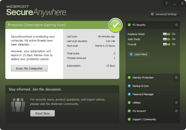 Webroot Secureanywhere Antivirus Screenshot 2