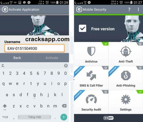 ESET Mobile Security Username and Password