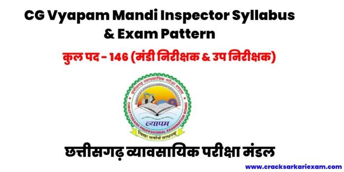 CG Vyapam Mandi Nirikshak Syllabus 2021