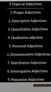 Kinds of Adjective