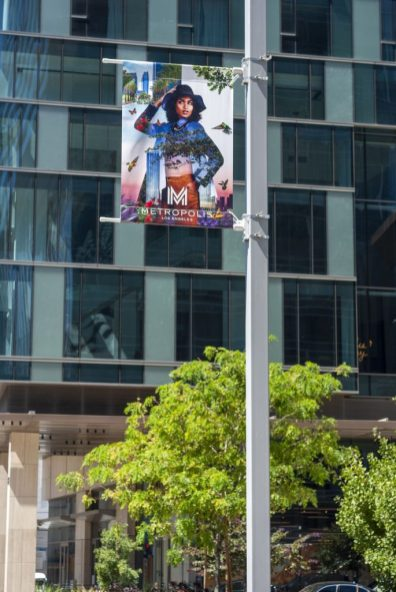Double-sided street pole banners are located in the perimeter of the complex.