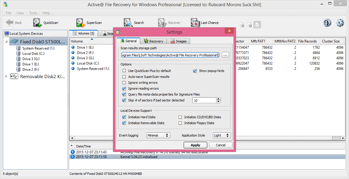 active file recovery for windows registration key