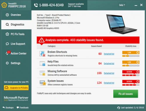 TweakBit FixMyPC 2016 License Key + Patch Free Download