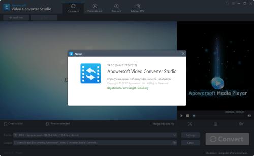 Apowersoft Video Converter Studio 4.5.5 Patch & Keygen Download