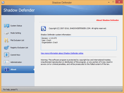 Shadow Defender 1.4.0.672 Keygen & Activator Download