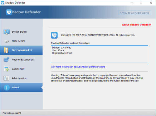 Shadow Defender 1.4.0.680 Keygen & Activator Download