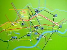 A map of the tube adorning a wall in the building's lobby.