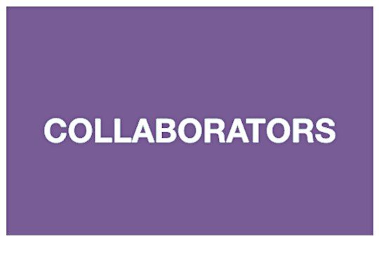 """""""Collaborators"""" on a purple background. White text."""
