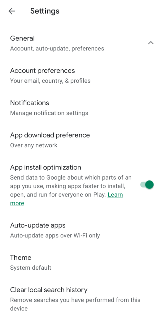 Steps to Turn on or off App Installation Optimization