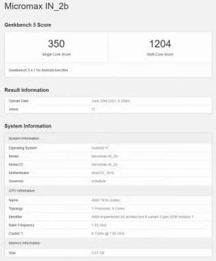 GeekBench Score In 2b